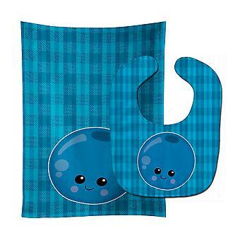Carolines skarby BB6984STBU Blueberry twarzy Baby Bib & Burp tkanina