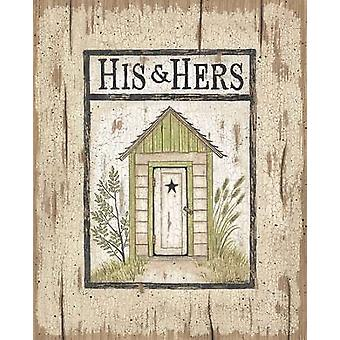 His and Hers Outhouse Poster Print by Linda Spivey (8 x 10)