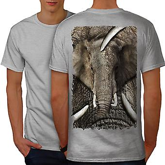 Elephant Face Wild Men GreyT-shirt Back | Wellcoda
