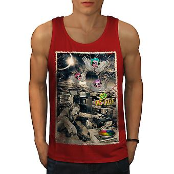 Not Real Life DJ Music Men RedTank Top | Wellcoda