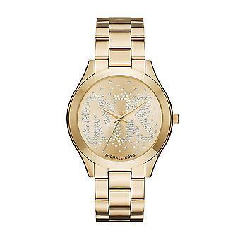 Michael Kors Slim Start-und Landebahn Womens Damen Wrist Watch Gold Armband Gesicht Zifferblatt MK3590