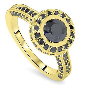 1 7/8ct טבעת אירוסין שחורה יהלום 14 קאראט זהב צהוב