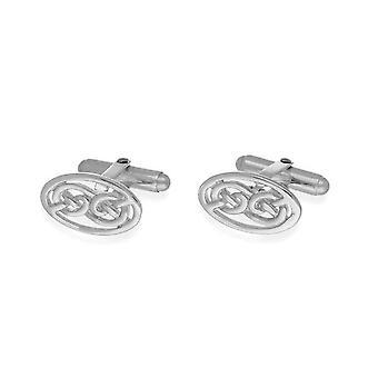 Sterling Silver Bar tradizionale scozzese Celtic eternità Knotwork ovale gemelli