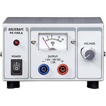 Bench PSU (adjustable voltage) VOLTCRAFT PS-1152 A 1.5 - 15 V DC 1.5 - 1 A 22.5 W No. of outputs 1 x