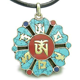Amulet tibetanske Mantra gamle Om Mani Padme Hum turkis Medallion Lotus Magic vedhæng halskæde