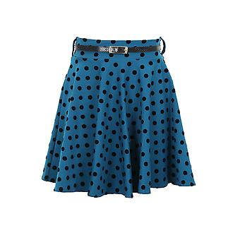 New Ladies Belted Polka Dot Spotted Short Flare Dress Women's Skirt