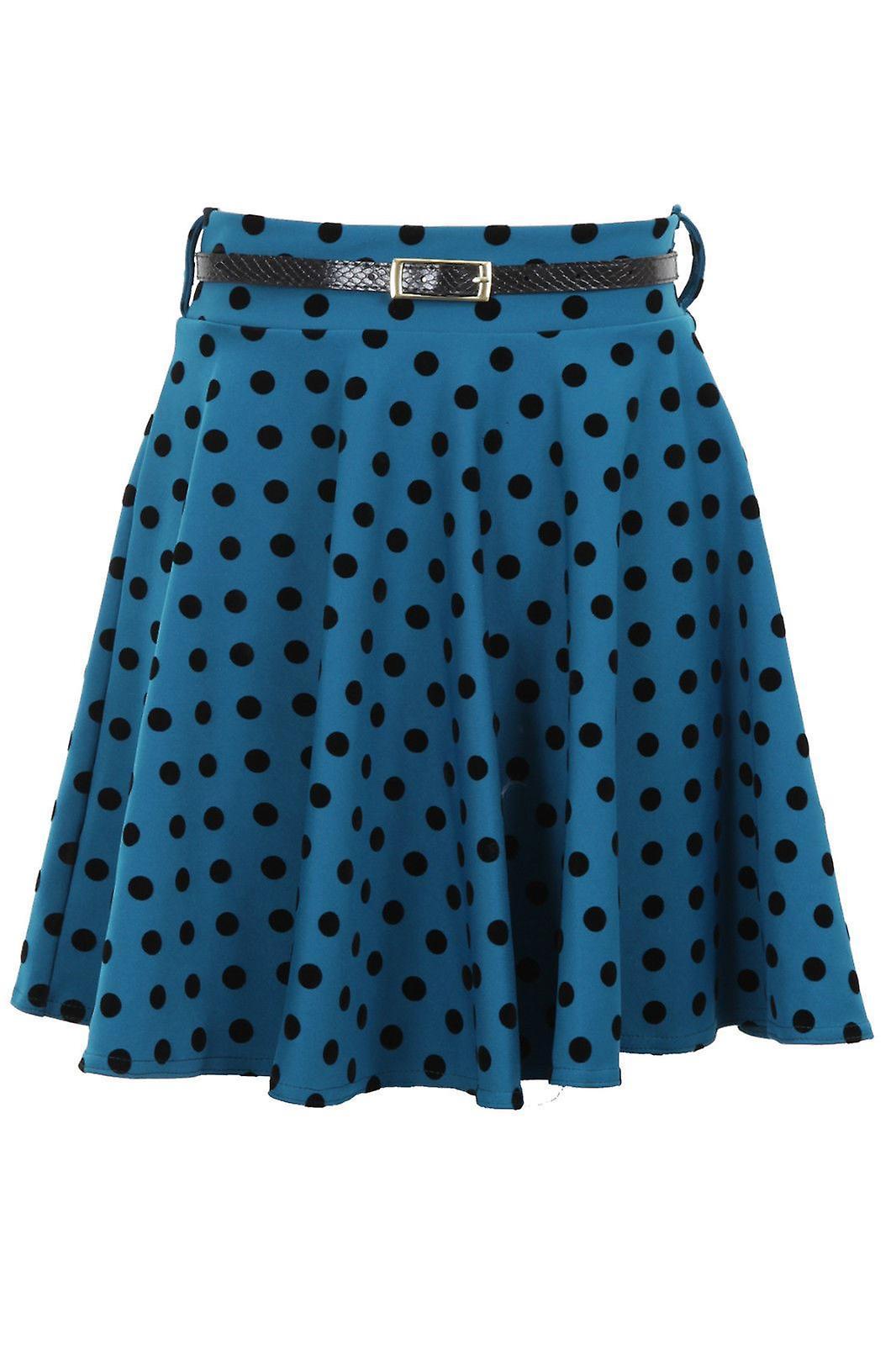New Ladies Belted Polka Dot Spotted Short Flare Dress Women's Skirt