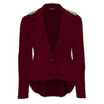Ladies Spike Shoulder High Low Frill Shift Pleated Women's Peplum Jacket Blazer