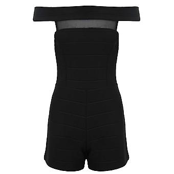 Ladies Mesh sett inn ribbet bandasjert tekstur av skulder Bodycon Playsuit
