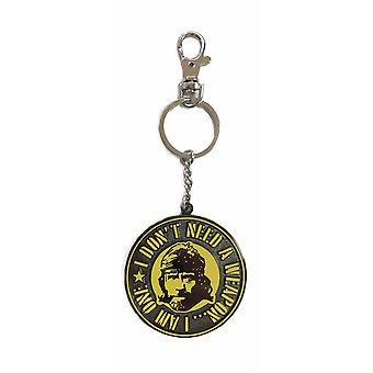 Chuck Norris Schlüsselanhänger Missing In Action Face Weapon bedruckt, aus Metall, inkl. Mini-Karabiner.