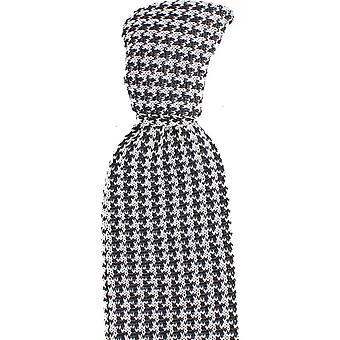 Knightsbridge cravates soie tricoté Houndstooth cravate - noir/blanc