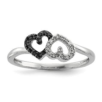 925 Sterling Silver Polished Prong set Open back Gift Boxed Rhodium plated Black and White Diamond Double Love Heart Rin