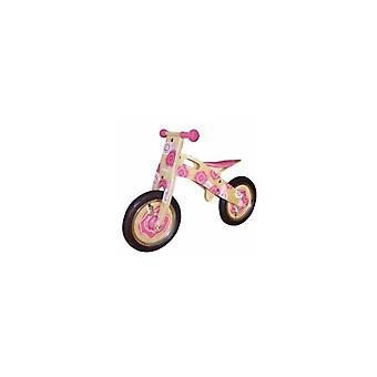 Vélo d'équilibre simplement en bois pour enfants fleur rose