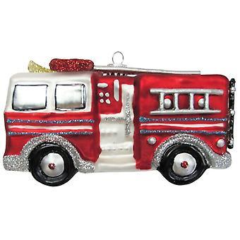 Christmas by Krebs Fireman Firefighter Fire Engine Truck Glass Ornament