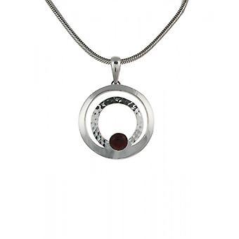 Cavendish Français Silver Hoop et jaspe rouge bouton pendentif sans chaîne