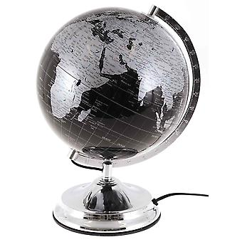 Globe with lighting h38cm globe light black silver lamp