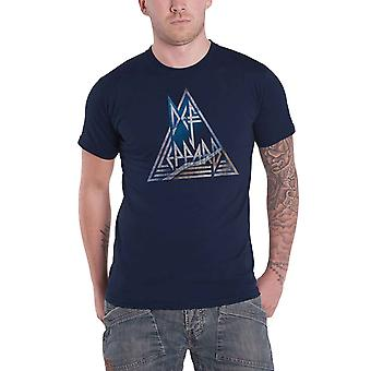 Def Leppard T Shirt Triangle Band Logo distressed new Official Mens Navy Blue