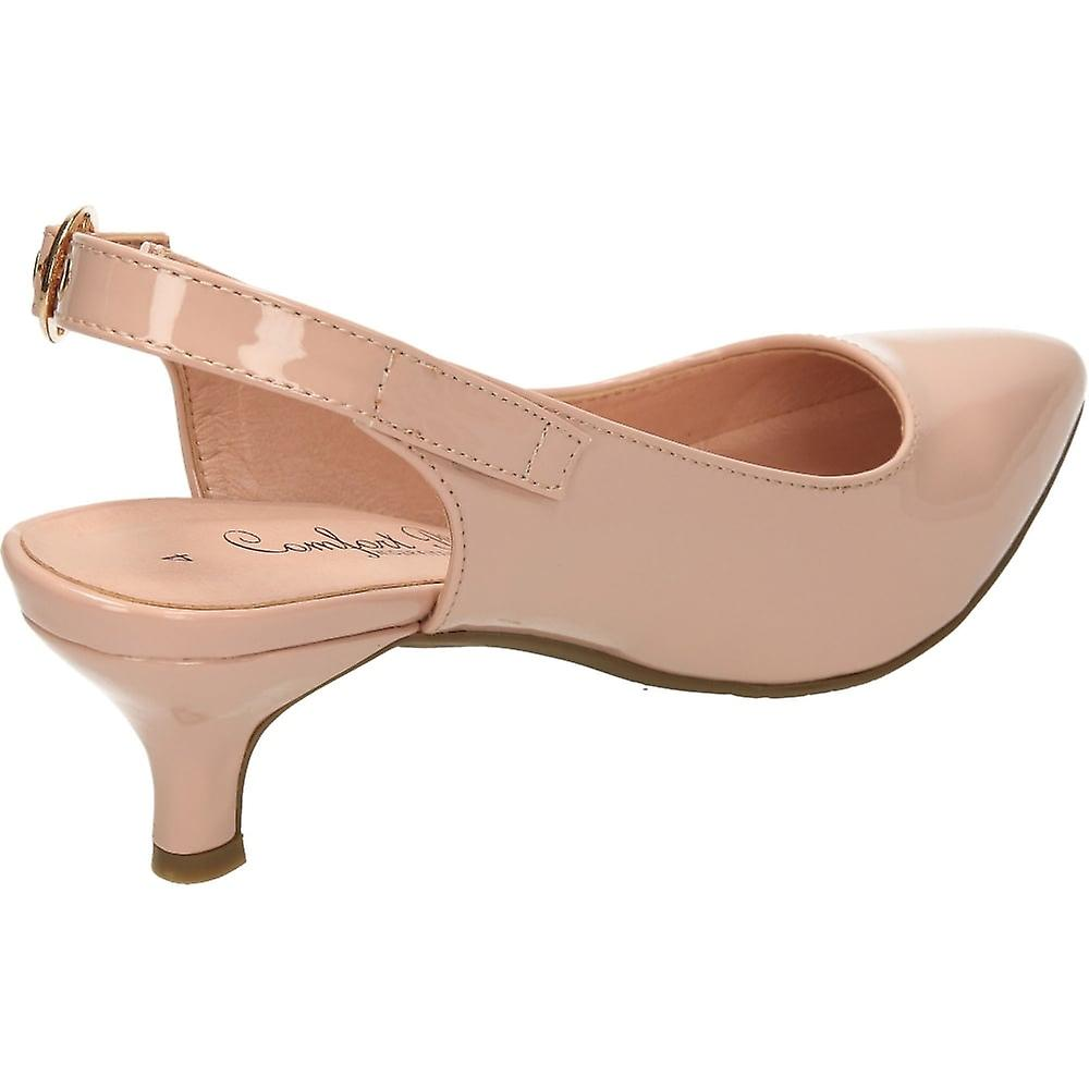 Comfort Plus Nude Patent Wide Fit Kitten Heel Slingback Patent Shoes
