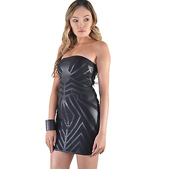 LMS Strapless Bandage Mini Dress With PU Strips In Black