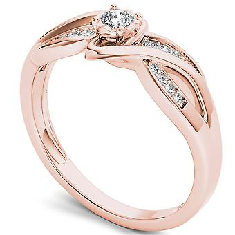 Igi شهادة 14k ارتفع الذهب 0.15 ct الماس تقسيم الساق خاتم الزفاف الخطوبة