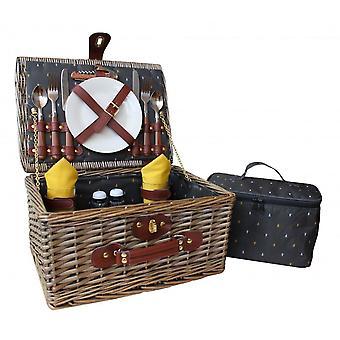 Antika tvätta karaktär mönster 2 Person utrustade picknickkorg