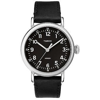 Timex | Mens Black Lederarmband | Schwarzes Ziffernblatt | TW2T20200D7PF Uhr