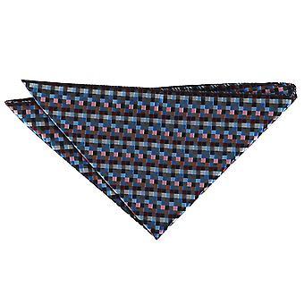 Noir, bleu, Bordeaux et Bronze damier géométrique mouchoir de poche