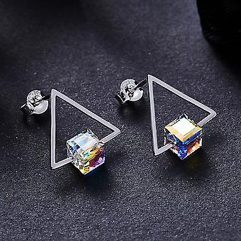 925 стерлингового серебра Aaaaa Cz куб Sparkly треугольник Стад Серьги