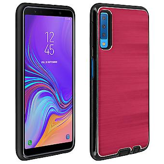 Galaxy A7 2018 Protective Soft Silicone Case Aluminum Reinforced edges, Red