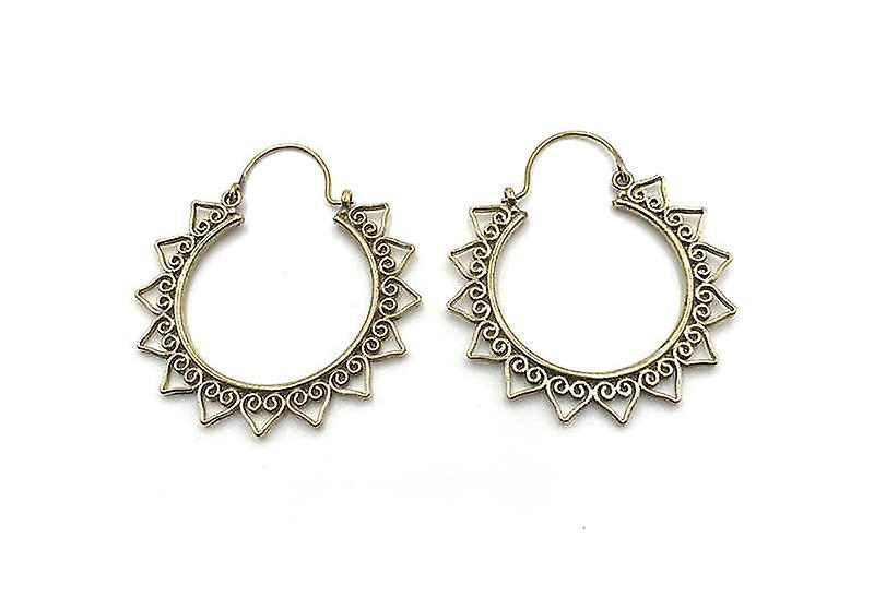 Avery and May Handmade Sunburst Hoop Earrings for Women