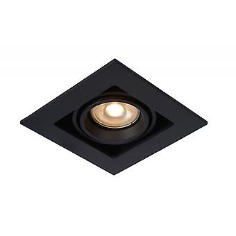 Lucide Chimney Modern Square Aluminum Black Recessed Spot Light