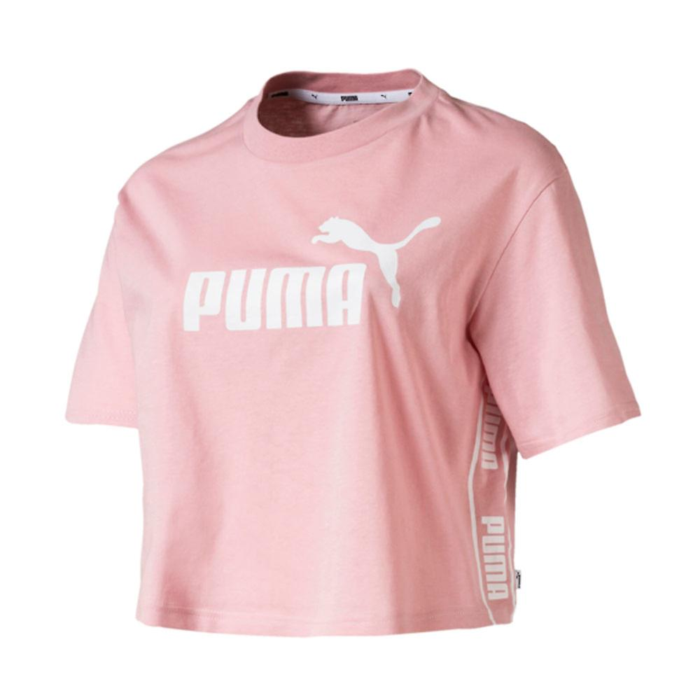 Puma Amplified Womens Ladies Sports Fashion Cropped T-Shirt Tee Pink