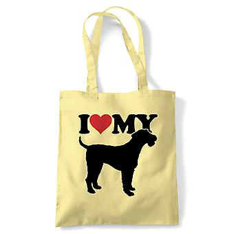 I Love My Airedale Terrier Tote - Reusable Shopping Canvas Bag Gift