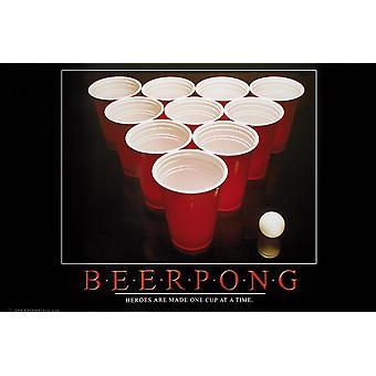 Bier pong poster helden zijn een kopje gemaakt op een moment