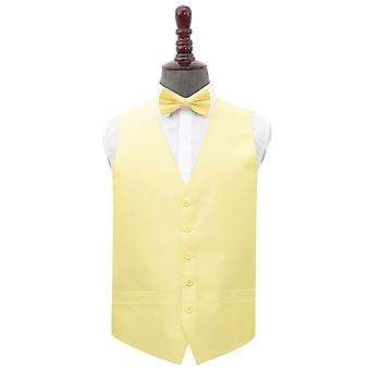 Lemon Yellow Plain Shantung Wedding Waistcoat & Set de lazo