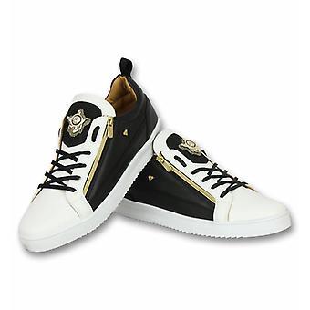Shoes - Sneaker Bee Black White Gold - White Black