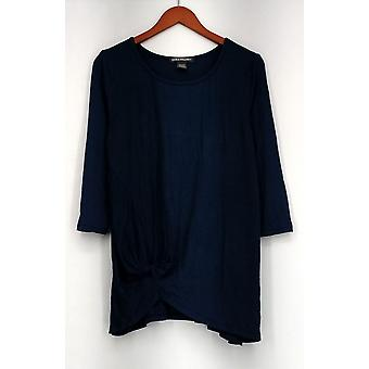 Kate & Mallory Top 3/4 Sleeve Round Neck Top w/ Side Gather Blue A424485