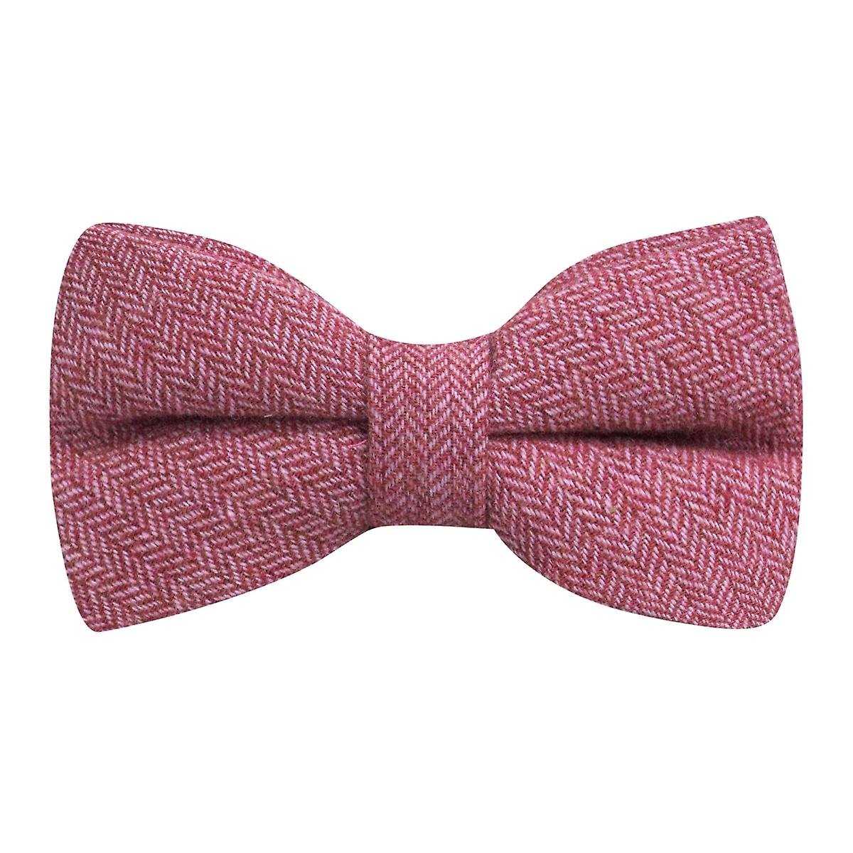 Berry Red Herringbone Bow Tie