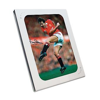 Bryan Robson ondertekende Manchester Verenigd foto In geschenkverpakking