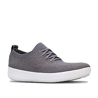 Womens FitFlop F-Sporty Uberknit Trainers in charcoal / metallic pewter.