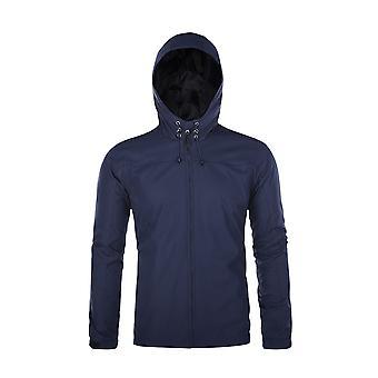 Allthemen menn ' s Jacket solid tynn hette høst & fjær glidelås vindtett jakke