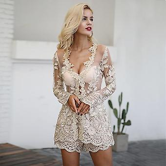 Sequin blonder todelt mesh broderi ryggløse spille Dress
