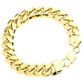 Sterling 925 silver tank chain bracelet - MIAMI 12mm gold