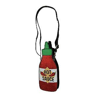 Red Glitter Hot Sauce Crossbody Purse Small
