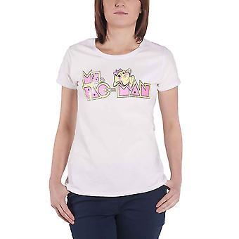 Pac Man T Shirt Logo new Official retro Gamer Womens Skinny Fit White