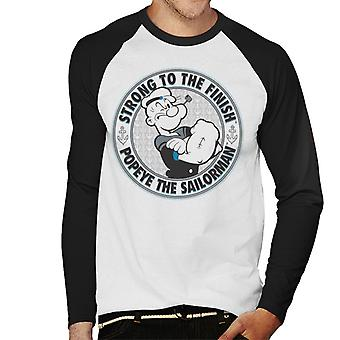 Popeye The Sailorman Strong To The Finish Men's Baseball Long Sleeved T-Shirt