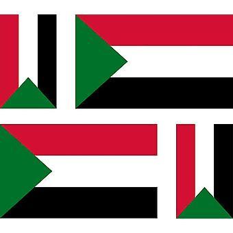 4 X Sticker Sticker Sticker Motorcycle Car Valise Pc Portable Flag Sudan Sudan