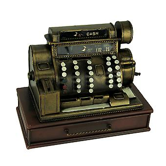 Old Fashioned Metal Cash Register Sculpture with Drawer