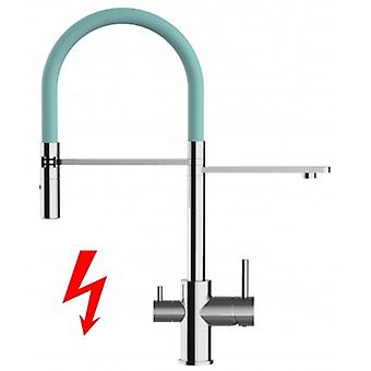 Niederdruck - For German Market Only! 3 Way Filter Kitchen Mixer With Movable Spout And 2 Jet Spray - Turquoise - 413