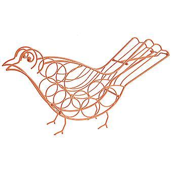 Bird Shape Metal Wine Holder, Orange